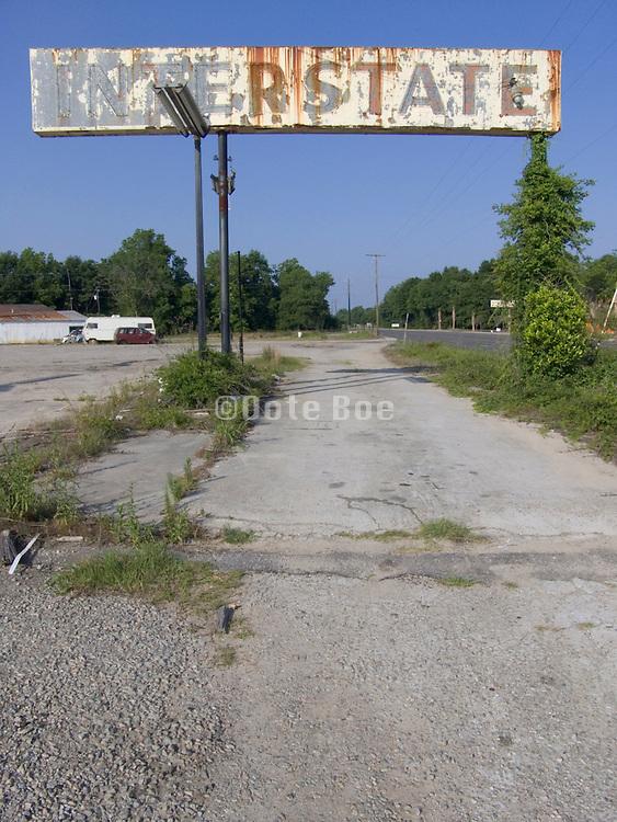 abandoned gasoline station sign along route 301 Georgia border South Carolina USA