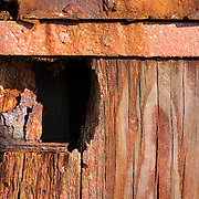 Aged doors on a toolshed on a fishing pier, Gloucester,MA