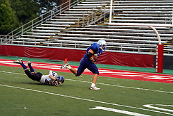 16 July 2005........Twin City Storm pound the Effingham Panthers 44-14 in a Midwest Football League game at ISU's Hancock Stadium.  THe MFL is a semi-professional football league. The Storm has existed for 3 years and is a pay to play team.....Normal, IL