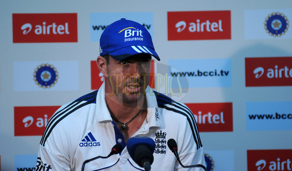 Kevin Pietersen of England addresses a press conference after the days play on day one of the 4th Airtel Test Match between India and England held at VCA ground in Nagpur on the 13th December 2012..Photo by  Pal Pillai/BCCI/SPORTZPICS .