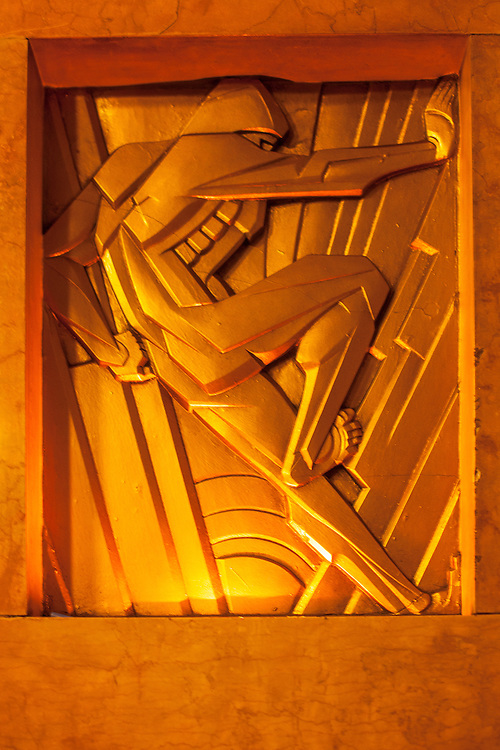 An Art Deco bas relief by sculptor René Chambellan in the lobby of the spectacular Chanin Building