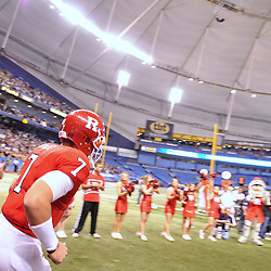 Dec 19, 2009; St. Petersburg, Fla., USA; Rutgers quarterback Tom Savage (7) takes the field for NCAA Football action in Rutgers' 45-24 victory over Central Florida in the St. Petersburg Bowl at Tropicana Field.
