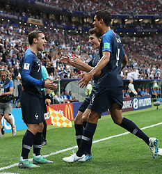 MOSCOW, July 15, 2018  France's Antoine Griezmann (L) and Raphael Varane (R) celebrate after Croatia's Mario Mandzukic scored an own goal during the 2018 FIFA World Cup final match between France and Croatia in Moscow, Russia, July 15, 2018. (Credit Image: © Cao Can/Xinhua via ZUMA Wire)