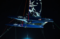 U.S. SailGP Team's F50 is craned out at Cockatoo Island following Race Day 2. Sydney SailGP, Event 1 Season 2 in Sydney Harbour, Sydney, Australia. 29 February 2020. Photo: Drew Malcolm for SailGP. Handout image supplied by SailGP
