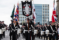 Traditional Orange Walk parade in central Glasgow , Scotland, United Kingdom