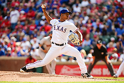 March 29, 2018 - Arlington, TX, U.S. - ARLINGTON, TX - MARCH 29: Texas Rangers relief pitcher Jose Leclerc (62) pitches the baseball during the game between the Texas Rangers and the Houston Astros on March 29, 2018 at Globe Life Park in Arlington, Texas. Houston defeats Texas 4-1. (Photo by Matthew Pearce/Icon Sportswire) (Credit Image: © Matthew Pearce/Icon SMI via ZUMA Press)