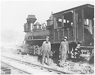 """RGS 2-8-0 #19 with crewmen.<br /> RGS  Telluride, CO  Taken by O'Hanlon, Herbert - 1906<br /> In book """"RGS Story, The Vol. X: Over the Bridges? Ridgway to Durango"""" page 221<br /> See RD155-095 for original.<br /> Also in """"Silver San Juan"""", p. 157; """"Narrow Gauge Country"""", p. 188 and """"The Rio Grande Southern Railroad"""" promo, p. 14."""