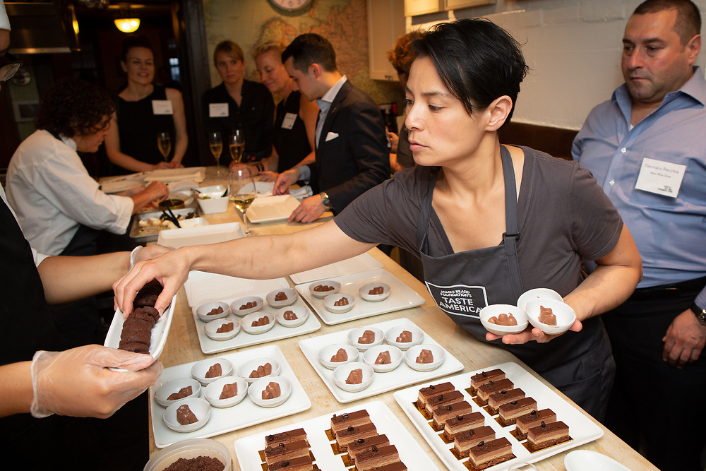 Chef Belinda Leong prepping desserts at the kick-off event for the James Beard Foundation's Taste America®'s 10-city national event, held August 1, 2018 at the James Beard House in New York City. <br /> <br /> CREDIT: Clay Williams for The James Beard Foundation.<br /> <br /> © Clay Williams / http://claywilliamsphoto.com