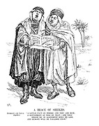 """A BRACE OF SHEIKHS. Mussolini and Laval (together). """"A little pact on where and why and how, A settlement of this or that - and thou Beside me in agreement more or less, And Europe will be paradise enow."""" (they both sing to 'A Song of Understanding, arranged for Two Voices', with Austria, Tunis, Eritrea and Libya listed above 'Disarmament?')"""