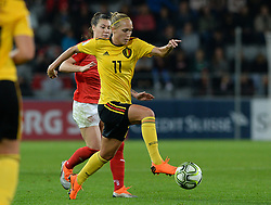 October 9, 2018 - Biel, SWITZERLAND - Belgium's Janice Cayman pictured in action during a soccer game between Switzerland and Belgium's national team the Red Flames, Tuesday 09 October 2018, in Biel, Switzerland, the return leg of the play-offs qualification games for the women's 2019 World Cup. BELGA PHOTO DAVID CATRY (Credit Image: © David Catry/Belga via ZUMA Press)