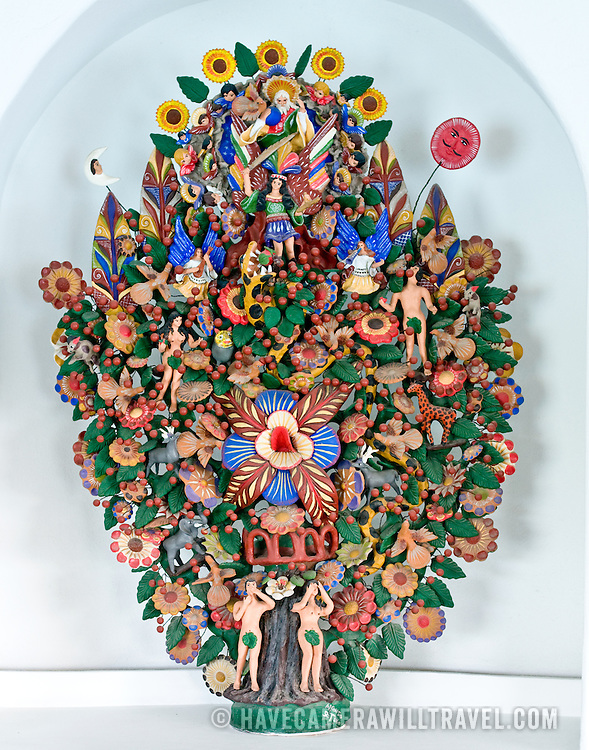 A 'Tree of Life' made out of pottery. These are made in the Mexico City area.