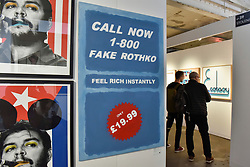 "© Licensed to London News Pictures. 06/10/2017. London, UK.  ""Call Now 1-800 Fake Rothko"", 2017, by CB Hoyo at the Moniker Art Fair, the world's biggest urban art fair, taking place at the Old Truman Brewery in East London from 5 to 8 October 2017.  The fair brings together the world's most influential new-contemporary and urban art galleries to show international artworks to Londoners. Photo credit : Stephen Chung/LNP"