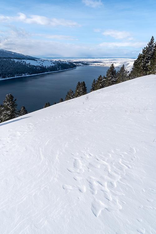 Wallowa Lake in winter, Wallowa County, Oregon.
