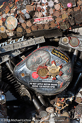 Rat bike at the Broken Spoke Saloon during Laconia Motorcycle Week. Laconia, NH, USA. June 13, 2015.  Photography ©2015 Michael Lichter.