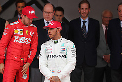 May 26, 2019 - Monte Carlo, Monaco - xa9; Photo4 / LaPresse.26/05/2019 Monte Carlo, Monaco.Sport .Grand Prix Formula One Monaco 2019.In the pic: Sebastian Vettel (GER) Scuderia Ferrari SF90 and Lewis Hamilton (GBR) Mercedes AMG F1 W10 (Credit Image: © Photo4/Lapresse via ZUMA Press)