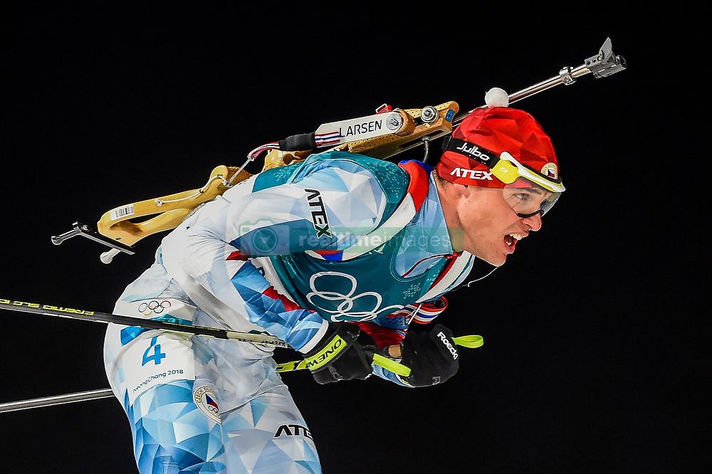 February 18, 2018 - Pyeongchang, Gangwon, South Korea - Michal Krcmar of Czech Republic  competing in  15 km mass start biathlon at Alpensia Biathlon Centre, Pyeongchang,  South Korea on February 18, 2018. (Credit Image: © Ulrik Pedersen/NurPhoto via ZUMA Press)