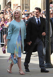 File photo dated 31/08/19 of Katy Perry and Orlando Bloom arriving at York Minster for the wedding of singer Ellie Goulding. The US singer, 35, has revealed in a music video for her latest single, Never Worn White, that she is expecting her first child with fiance Orlando Bloom.