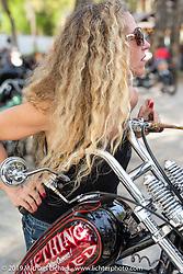 Heather Callen's with the Something Wicked custom Shovelhead at Warren Lane's True Grit Antique Gathering bike show at the Broken Spoke Saloon in Ormond Beach during Daytona Beach Bike Week, FL. USA. Sunday, March 10, 2019. Photography ©2019 Michael Lichter.