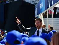 Cricket - 2019 ICC Cricket World Cup - Group Stage: England vs. South Africa<br /> <br /> Prince Harry, the Duke of Sussex chats to the mascots before he officially opens the ICC Cricket World Cup, at The Kia Oval.<br /> <br /> COLORSPORT/ASHLEY WESTERN