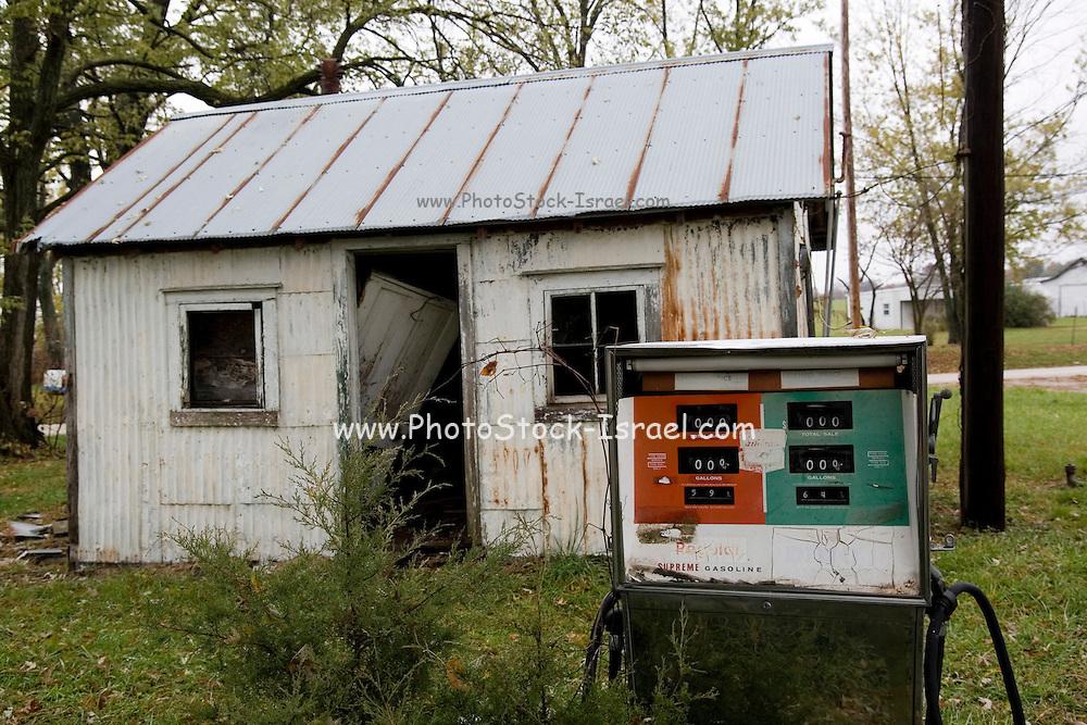Santa Fe Missouri MO USA, An abandoned gas station. Santa Fe