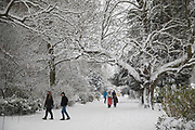 People in Kings Heath Park head out to enjoy the heavy snow fall on Sunday 10th December 2017 in Birmingham, United Kingdom. Deep snow arrived in much of the UK, closing roads and making driving treacherous, while many people simply enjoyed the weather.