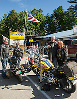 Dave and Lorraine Jeans, Mike and Shannon Nash and Vance Nash and Cyndie Urquhart start their morning off with breakfast at Nothin' Fancy before they head out for a day's ride to begin their weekend on Friday morning.  (Karen Bobotas/for the Laconia Daily Sun)