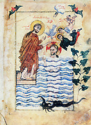 Baptism of Jesus by St John the Baptist. After Armenian Evangelistery (130)5: Calligraphy and painting by Simeon Artchichetsi.