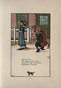 Tell Tale Tit, Your tongue shall be split And all the dogs in the town Shall have a little bit. from the book Mother Goose : or, The old nursery rhymes by Kate Greenaway, Engraved and Printed by Edmund Evans published in 1881 by George Routledge and Sons London nad New York