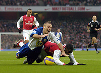 Photo: Olly Greenwood.<br />Arsenal v Blackburn Rovers. The Barclays Premiership. 23/12/2006. Arsenal's Kolo Toure fouls Blackburn's David Bentley in the box to give away a penalty