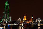 London by night - Houses of Parliament, Big Ben, London Eye, Hungerford Bridge -  England