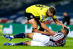 Jack Muldoon of Harrogate Town pats Lee Peltier of West Bromwich Albion on the head - Mandatory by-line: Robbie Stephenson/JMP - 16/09/2020 - FOOTBALL - The Hawthorns - West Bromwich, England - West Bromwich Albion v Harrogate Town - Carabao Cup