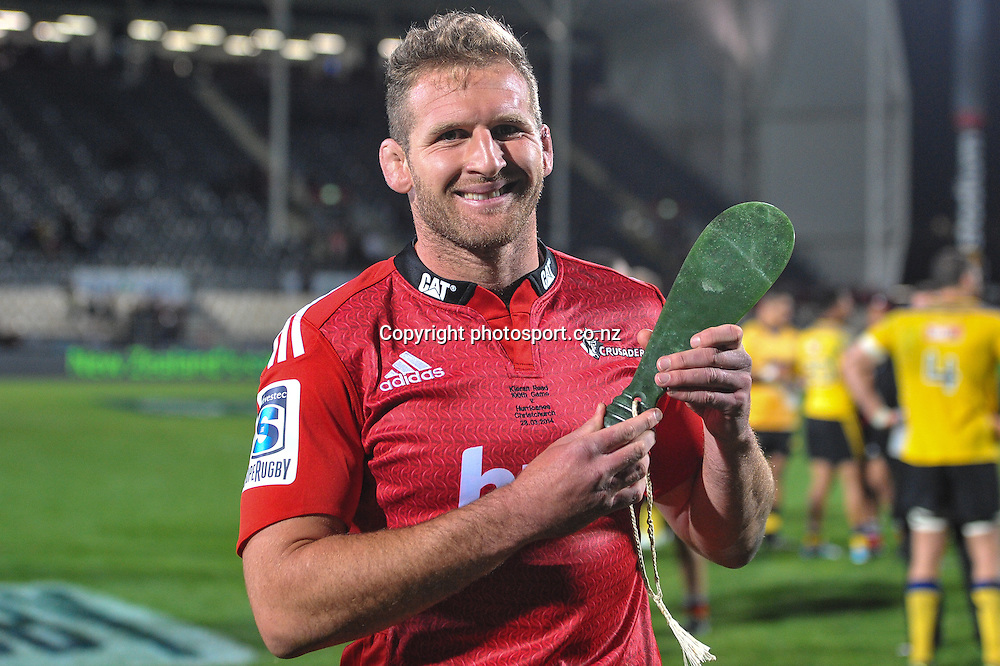 Kieran Read of the Crusaders receives a patu for playing 100 games for the Crusaders  in the Super Rugby game, Crusaders v Hurricanes, 28 March 2014. Photo:John Davidson/photosport.co.nz