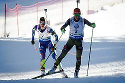 Habert Dorin Marie (FRA) and Laura Dahlmeier (GER) compete during Women 10 km Pursuit at day 3 of IBU Biathlon World Cup 2015/16 Pokljuka, on December 19, 2015 in Rudno polje, Pokljuka, Slovenia. Photo by Ziga Zupan / Sportida