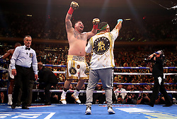 Andy Ruiz Jr celebrates the win in the WBA, IBF, WBO and IBO Heavyweight World Championships title fight at Anthony Joshua at Madison Square Garden, New York.