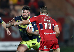 Wakefiekd Trinity's David Fifita (left) is tackled by Hull KR's Maurice Blair during the Betfred Super League match at Craven Park, Hull.