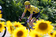 Geraint Thomas (GBR - Team Sky) yellow jersey, sunflowers during the 105th Tour de France 2018, Stage 18, Trie sur Baise - Pau (172 km) on July 26th, 2018 - Photo Kei Tsuji / BettiniPhoto / ProSportsImages / DPPI
