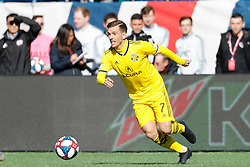 March 9, 2019 - Foxborough, MA, U.S. - FOXBOROUGH, MA - MARCH 09: Columbus Crew midfielder Pedro Santos (7) plays the ball during a match between the New England Revolution and Columbus Crew SC on March 9, 2019, at Gillette Stadium in Foxborough, Massachusetts. (Photo by Fred Kfoury III/Icon Sportswire) (Credit Image: © Fred Kfoury Iii/Icon SMI via ZUMA Press)