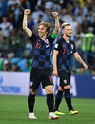 NIZHNY NOVGOROD, June 21, 2018  Luka Modric (L) of Croatia celebrates victory after the 2018 FIFA World Cup Group D match between Argentina and Croatia in Nizhny Novgorod, Russia, June 21, 2018. Croatia won 3-0. (Credit Image: © Li Ga/Xinhua via ZUMA Wire)