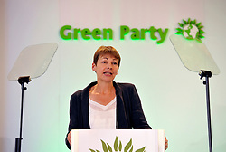 © Licensed to London News Pictures. 07/09/2012. Bristol, UK. Caroline Lucas, the outgoing leader of the Green Party, speaking at the Green Party conference at the Council House in Bristol.  07 September 2012..Photo credit : Simon Chapman/LNP