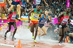 London, August 08 2017 . Jairus Kipchoge Birech, Kenya, leads Getnet Wale, Ethiopia, Evan Jager, USA, and \eventual winner Conseslus Kipruto, Kenya, in the men's 3,000m steeplechase final on day five of the IAAF London 2017 world Championships at the London Stadium. © Paul Davey.