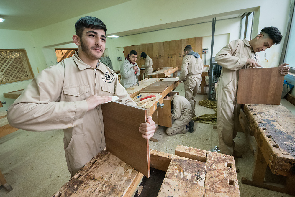 25 February 2020, Jerusalem: Majd Ajlouni studies carpentry. The Lutheran World Federation's vocational training centre in Beit Hanina offers vocational training for Palestinian youth across a range of different professions, providing them with the tools needed to improve their chances of finding work.