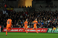 Valencia's Daniel Parejo ® celebrates after he scores 1st goal. UEFA Europa league match, Swansea city v Valencia at the Liberty Stadium in Swansea on Thursday 28th November 2013. pic by Andrew Orchard, Andrew Orchard sports photography,