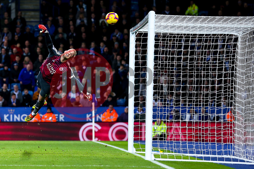 Kasper Schmeichel of Leicester City dives in despair as Victor Camarasa of Cardiff City scores a goal to make it 1-0 - Mandatory by-line: Robbie Stephenson/JMP - 29/12/2018 - FOOTBALL - King Power Stadium - Leicester, England - Leicester City v Cardiff City - Premier League