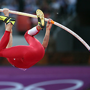 Brad Walker, USA, in action during the Men's Pole Vault Final at the Olympic Stadium, Olympic Park, Stratford during the London 2012 Olympic games. London, UK. 10th August 2012. Photo Tim Clayton