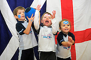 JP License.<br /> <br /> Friday 5th February 2016, St Serfs Church Hall, Inverleith, Edinburgh<br /> <br /> Rugbytots kids, aged three-and-a-half to five years old, celebrate and fine-tune their rugby skills for the Six Nations with their own mini Scotland v England rugby match ahead of the game on Saturday.<br />  <br /> L-R  Patrick Gilchrist, Caspain Hutchinson and Olivia Christie  and all aged 4.<br /> <br /> <br />  Neil Hanna Photography<br /> www.neilhannaphotography.co.uk<br /> 07702 246823