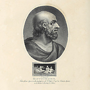 "Portrait of Hippocrates Copperplate engraving by John Chapman. [Hippocrates of Kos (c. 460 – c. 370 BC), also known as Hippocrates II, was a Greek physician who is considered one of the most outstanding figures in the history of medicine. He is often referred to as the ""Father of Medicine"" in recognition of his lasting contributions to the field as the founder of the Hippocratic School of Medicine]. From the Encyclopaedia Londinensis or, Universal dictionary of arts, sciences, and literature; Volume X;  Edited by Wilkes, John. Published in London in 1811"