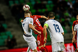 Stefan Ristovski of Macedonia vs Jasmin Kurtič of Slovenia during football match between National teams of Slovenia and North Macedonia in Group G of UEFA Euro 2020 qualifications, on March 24, 2019 in SRC Stozice, Ljubljana, Slovenia.  Photo by Matic Ritonja / Sportida