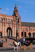 SPAIN, ANDALUSIA, SEVILLE Plaza de Espana carriage rides