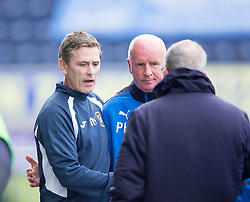 East Fife's manager Gary Naysmith and Falkirk's manager Peter Houston  at the end. Falkirk 3 v 1 East Fife, Petrofac Training Cup played 25th July 2015 at The Falkirk Stadium.
