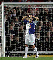 "Photo: Paul Thomas/Sportsbeat Images.<br /> Blackburn Rovers v Liverpool. The FA Barclays Premiership. 03/11/2007.<br /> <br /> Blackburn's David Bentley shows his frustration after hitting the ""up-right"" of the goal."